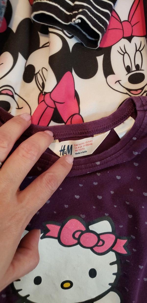 Girls lot of 5 (4T) dresses: Hello Kitty, Peppa Pig, Disney Minnie Mouse, Gap