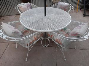 White Wrought Iron Table W/ Fiber Glass Cover & 4 White Wrought Iron Chairs & Cushions [Read Description] for Sale in Phoenix, AZ