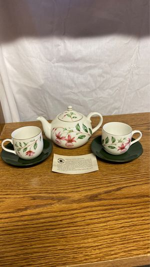 Fuchsia Blossom Tea Pot and Set of 2 Cups and Saucers for Sale in Alexandria, VA