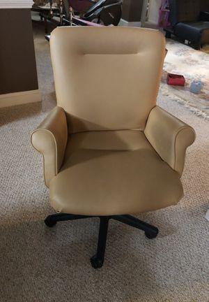 Beige leather computer revolving chair for Sale in Lorton, VA
