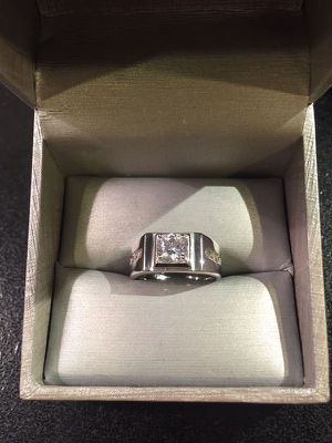 Unisex Stamped 925 Sterling Silver Square Cut Diamond Ring- Code Lq10 for Sale in Houston, TX