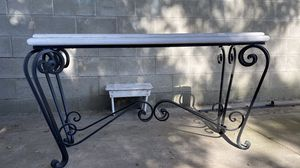 White Solid Wood & Iron Glass Top and Iron Table Set for Sale in Azusa, CA