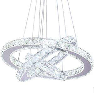 LED Crystal Chandeliers 3 rings LED Ceiling Lighting Fixture Adjustable Stainless Steel Pendant Light for Bedroom Living Room Dining Room for Sale in Los Angeles, CA