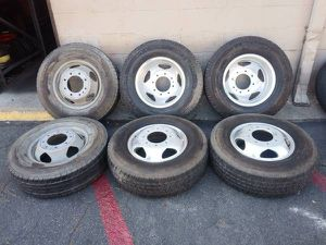 Six chevy or gmc 17 inch alcoa dually wheels and tires 8 on 210mm for Sale in Montebello, CA