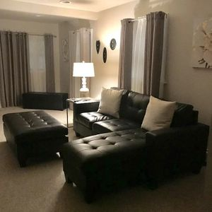 Brand New Espresso Bonded Leather Sectional Sofa Couch + Ottoman (New in Box) for Sale in Washington, DC