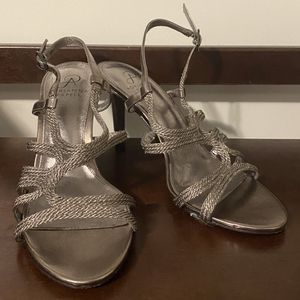 Adrianna Papell Heels Strappy Sandals Silver Gray (Women's Size 8) for Sale in Arlington, VA