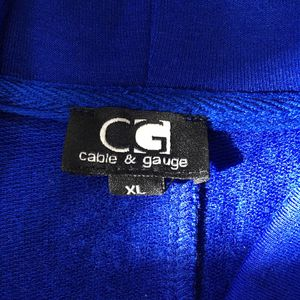 New Cable and Gauge Cowl Neck Top XL in Lapis Blue Lagenlook Tunic for Sale in West Windsor Township, NJ