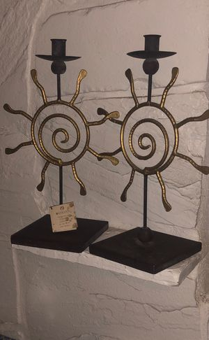 Handcrafted metal work sun design candle holders for Sale in Sandy, UT
