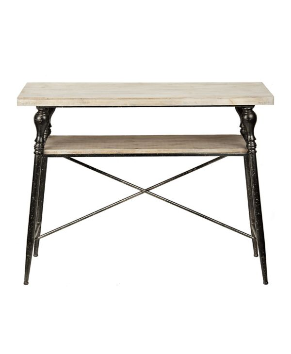 Industrial Wood and Iron Side Table with Iron Frame