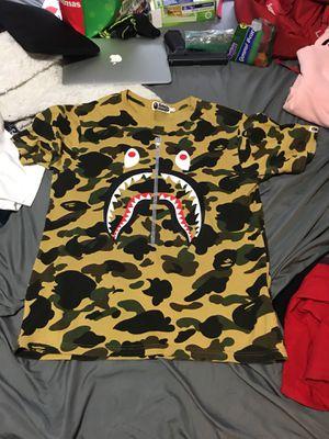 Tan camo bape shark shirt with silver zipper for Sale in Austin, TX