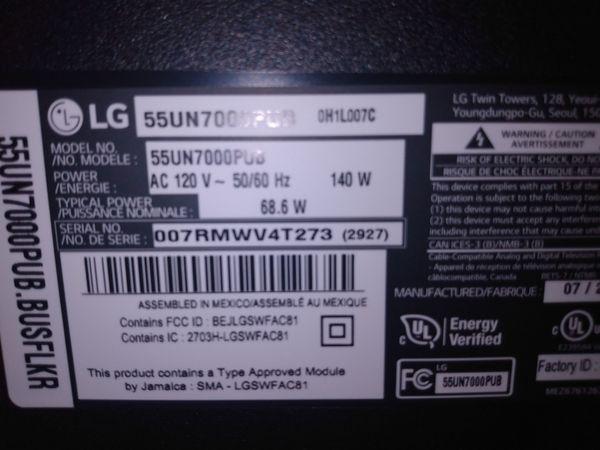 LG 55 Inch Class Un7000 Series 4K UHD Smart webOS Tv