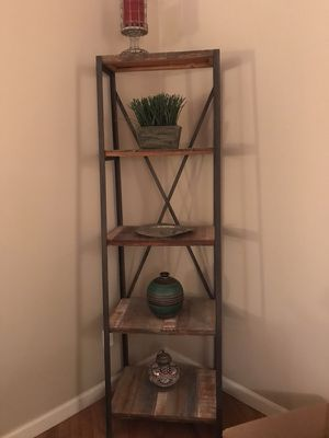 Display shelf, wood/metal. Shelves get gradually smaller from bottom to top. Good condition. $115. for Sale in Denver, CO