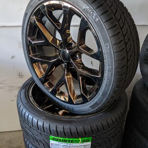 Chevy Silverado Tahoe Suburban Avalanche GMC Sierra 1500 Yukon Wheels Tires P305 35R24 Rims 305 35 24 for Sale in Matthews, NC
