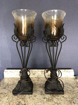 Wrought Iron and Glass Decorative Lamps for Sale in Orlando, FL