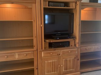 Broyhill Fontana Pine 3 Piece Armoire Entertainment Hutch And Shelve Units for Sale in Spanaway,  WA
