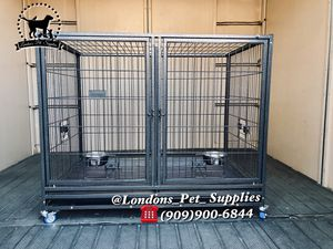 "NEW! 43"" Heavy-Duty Dog Cage w/ Divider and Feeding Bowls (Kennel) (Crate) for Sale in Colton, CA"