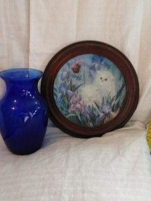 Collectable plate and cobalt blue Indiana glass company for Sale in Fort Worth, TX