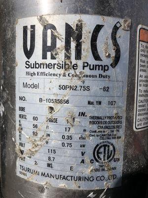 submersible pump Tsurumi for Sale in Sudbury, MA