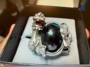 Massive Custom Sterling Silver and Garnet Mens Ring - 10 1/2 for Sale in Mount Selman, TX