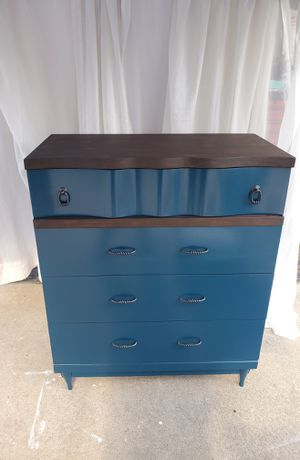 Blue dresser dark hardware and espresso top for Sale in Neenah, WI