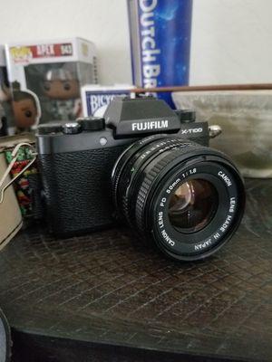 Fuji x-t100 with canon fd lenses for Sale in Visalia, CA
