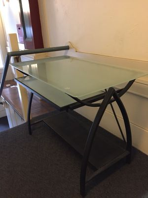 Priced to sell! Glass computer desk table and leather chair for Sale in San Francisco, CA