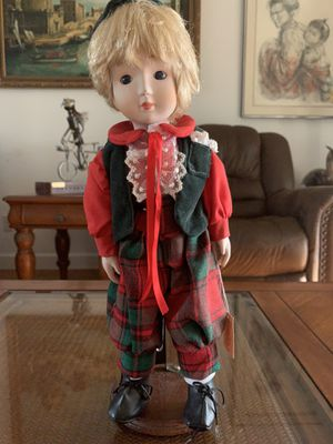 """14"""" tall vintage Brinn`s Christmas collectible porcelain edition boy figure statue original tag attached for Sale in Hobe Sound, FL"""