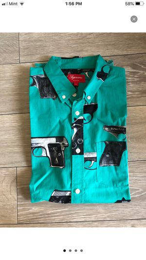 Supreme guns shirt sz L teal for Sale in Gaithersburg, MD