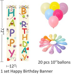 Large Happy Birthday Banner,Colorful Porch Sign and Macaroon Balloons for Party for Sale in Queens, NY