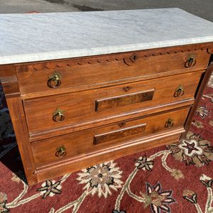 Antique East Lake 3-Drawer Chest With Marble Top for Sale in Holly Springs, NC