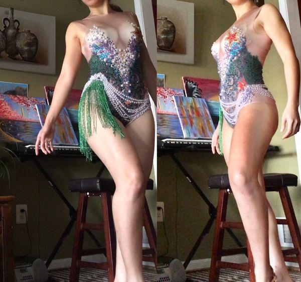 🆕🔥Rhinestone Mermaid Dance Costume Performance Bodysuit