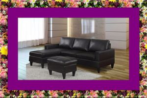 Black sectional free ottoman and delivery for Sale in Ashburn, VA