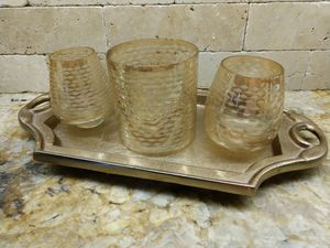 Gorgeous Candle Holders and Gold Dresser Vanity Tray for Sale in Gulfport, FL