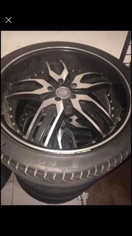 22 inch black and machined rims and tires for Sale in Jonesboro, GA