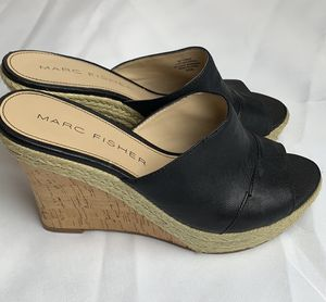 Marc Fisher Turnip Black Leather Peep Toe Wedge for Sale in Vancouver, WA