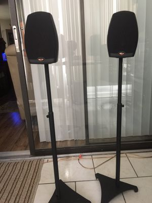 Theater klipsch speakers. Pair with Stand base. for Sale in Orlando, FL