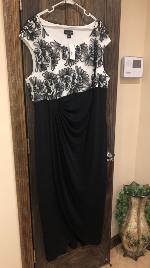 Formal Dress Plus Size 24W Black & White Evening Gowns Mother of the Bride Prom NEW