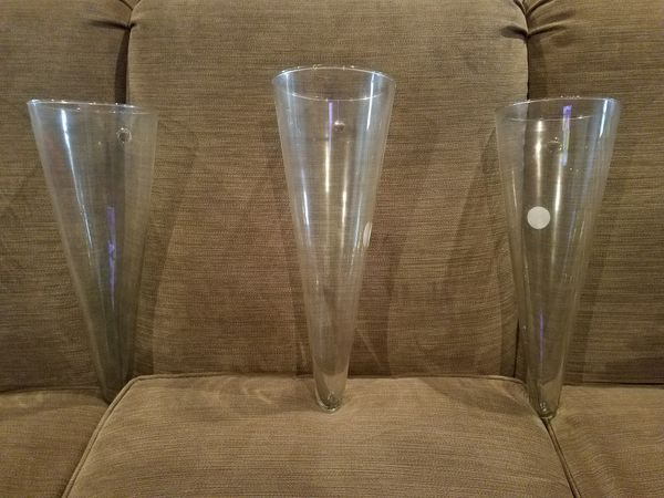 3 glass cone shaped wall vases