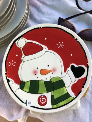 Happy Holiday Snowman Plate for Sale in Huntington Beach, CA