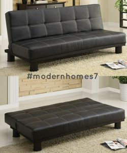 "Black leather sofa bed sleeper couch futon 70"" wide for Sale in Cypress,  CA"