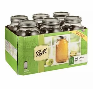 Ball Wide Mouth Canning Mason Jars, Half Gallon Clear Glass Jar, 64Oz, Pack Of 6 for Sale in Las Vegas, NV
