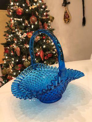 A Blue Cobalt Hobnail Vintage Basket for Sale in Reston, VA