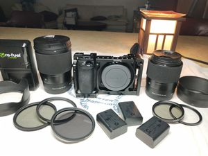 sony a6500 camera with sigma lens 30mm 1.4 and 16mm 1.4 video fliming for Sale in West Palm Beach, FL