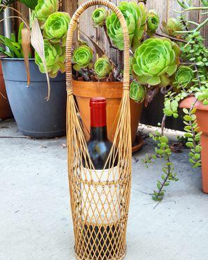 Vintage Wicker Wine Bottle Holder/Carrier/Basket/Caddy Boho Bohemian Rattan Planter Plant Holder for Sale in Tujunga, CA