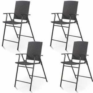 Costway 4 PCS Folding Rattan Wicker Bar Stool Chair Indoor &Outdoor Furniture Brown. HW52885 for Sale in Santa Ana, CA