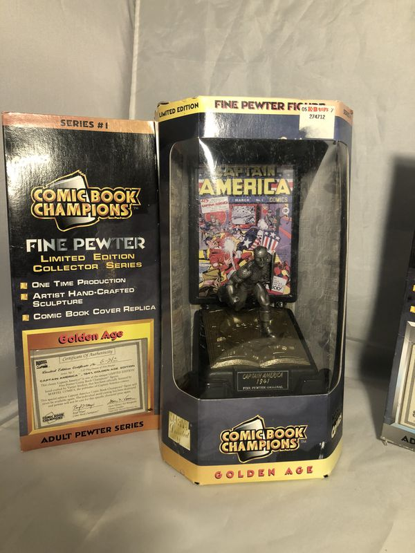 1996 1997 Marvel & DC Comic Book Champions Fine Pewter lot of 6