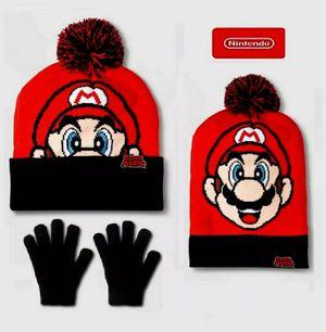 Nintendo Super Mario Beanie / Hat and gloves Set for 3 to 7 years winter warm and cozy for Sale in Imperial, CA