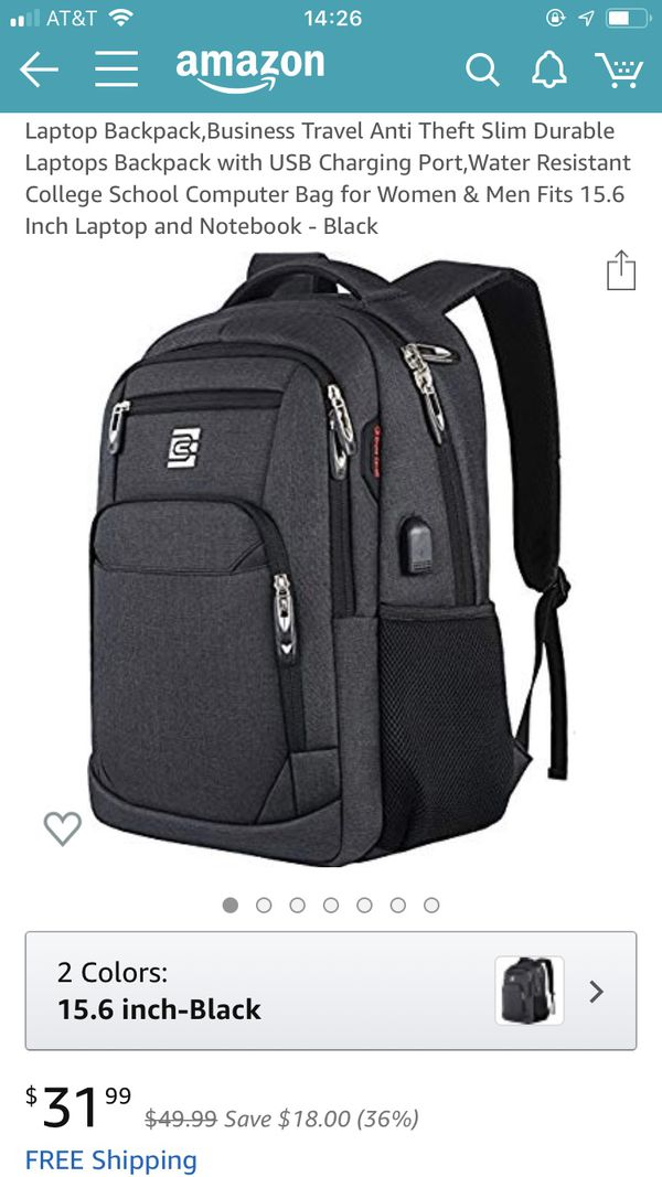 Backpack, water resistant, black for electronics and laptop