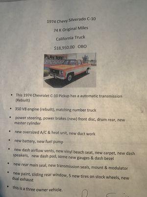 1974 Chevy Silverado C-10 74k miles for Sale in Moreno Valley, CA