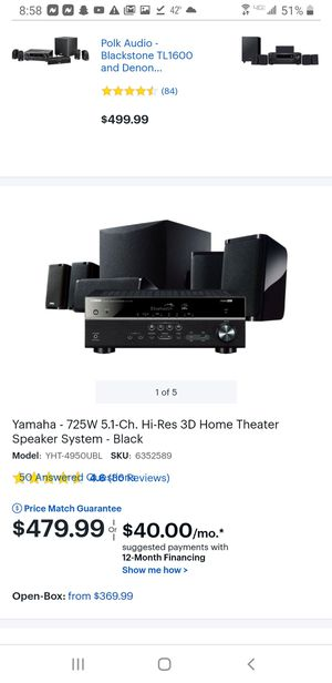 Yamaha 5.1 home theater system (has warranty through best buy) for Sale in New London, CT